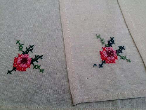 Vintage Set of 10 Hand Embroidered Cross Stitch White Cotton Linen Cocktail Napkins