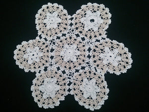 Vintage Round White and Ecru Coloured Crochete Cotton Lace Doily