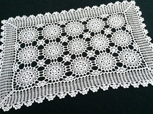Small Vintage White Cotton Lace Crocheted Rectangular Tablecloth or Table Runner