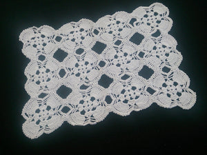 White Vintage Crocheted Rectangular Cotton Lace Doily