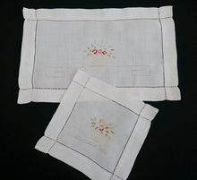 Load image into Gallery viewer, Pair of Fine Vintage Silk Thread Embroidered Floral Cotton Linen Doilies with Ajour (Openwork) Border