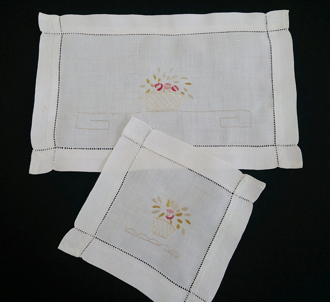 Pair of Fine Vintage Silk Thread Embroidered Floral Cotton Linen Doilies with Ajour (Openwork) Border