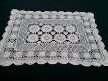 Load image into Gallery viewer, Vintage Ecru (Natural Cotton) Crocheted Rectangular Lace Doily/Placemat or Small Table Runner