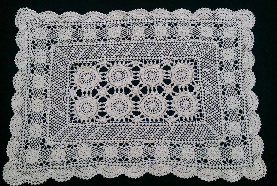 Vintage Ecru (Natural Cotton) Crocheted Rectangular Lace Doily/Placemat or Small Table Runner