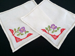 A Pair of White Square Vintage Embroidered Linen Doilies or Napkins