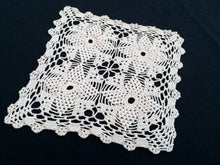 Load image into Gallery viewer, Square Ivory 1950s Vintage Cotton Lace Handmade Crocheted Doily