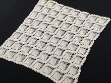 Load image into Gallery viewer, Diamond Shape Vintage Antique Linen White Colour Cotton Lace Crocheted Table Runner