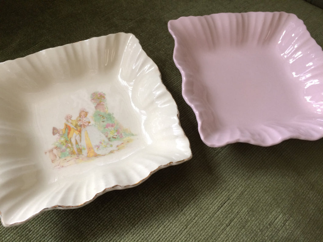 Pair of J G Meakin Ring Dishes, Rosa (Pink) and 18th Century Couple Design
