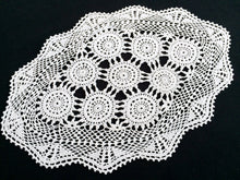 Load image into Gallery viewer, Vintage Crocheted Antique Linen White Cotton Lace Doily, Tray Cloth or Placemat