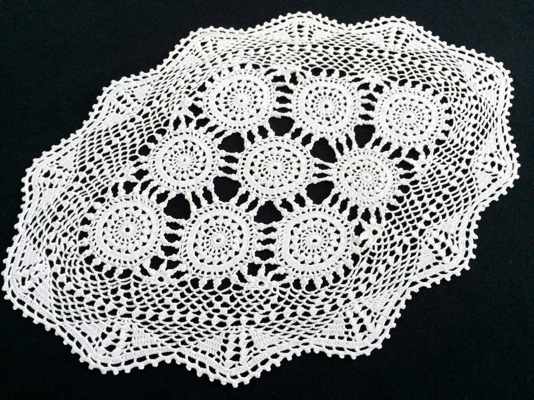 Vintage Crocheted Antique Linen White Cotton Lace Doily, Tray Cloth or Placemat