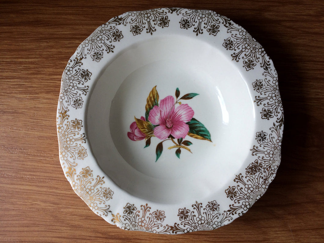 Alfred Meakin Ring/Soap/Pin Dish with Hibiscus Flower and Gold Chintz Pattern