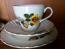 Load image into Gallery viewer, Tea for Two 2 x 3 Piece Demitasse Sets Made in England Old Foley James Kent  Ltd Yellow Roses Fluted Design with Gold Band  VCH0065