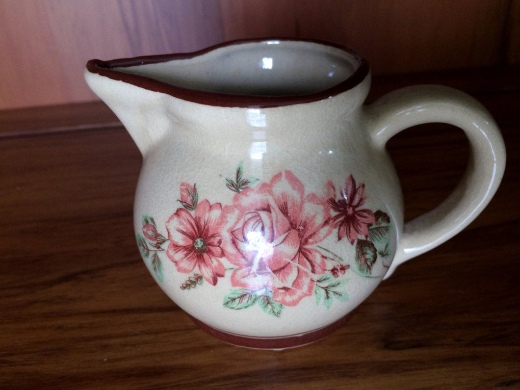 Small Australian Vintage Creamer with Red Roses Pattern