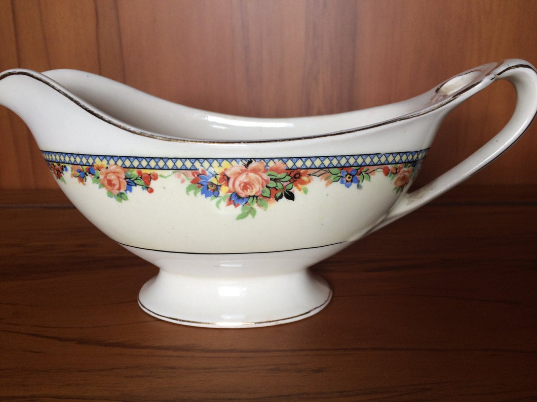 J G Meakin Art Deco Vintage Gravy Boat with Roses