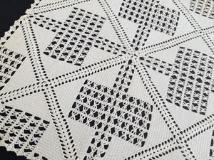 Large Off White Square Vintage Filet Crochet Lace Doily or Small Tablecloth