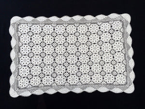 Vintage Crocheted Antique Linen White Cotton Lace Table Runner