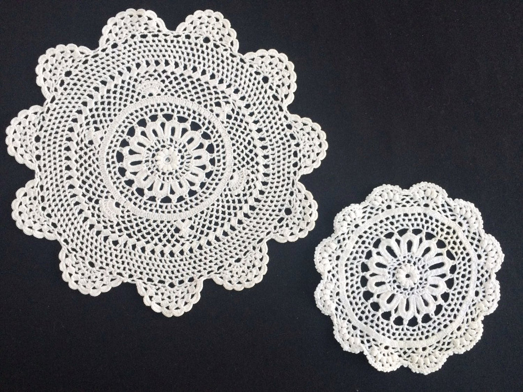 A Pair of White Round Vintage Crocheted Cotton Lace Doilies