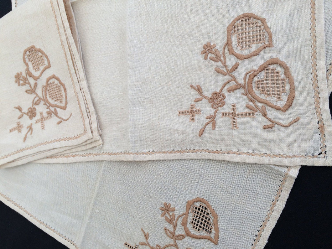 Set of 3 Vintage Embroidered Ajour (Openwork) Linen Napkins Ivory and Taupe/Antique Gold Colour