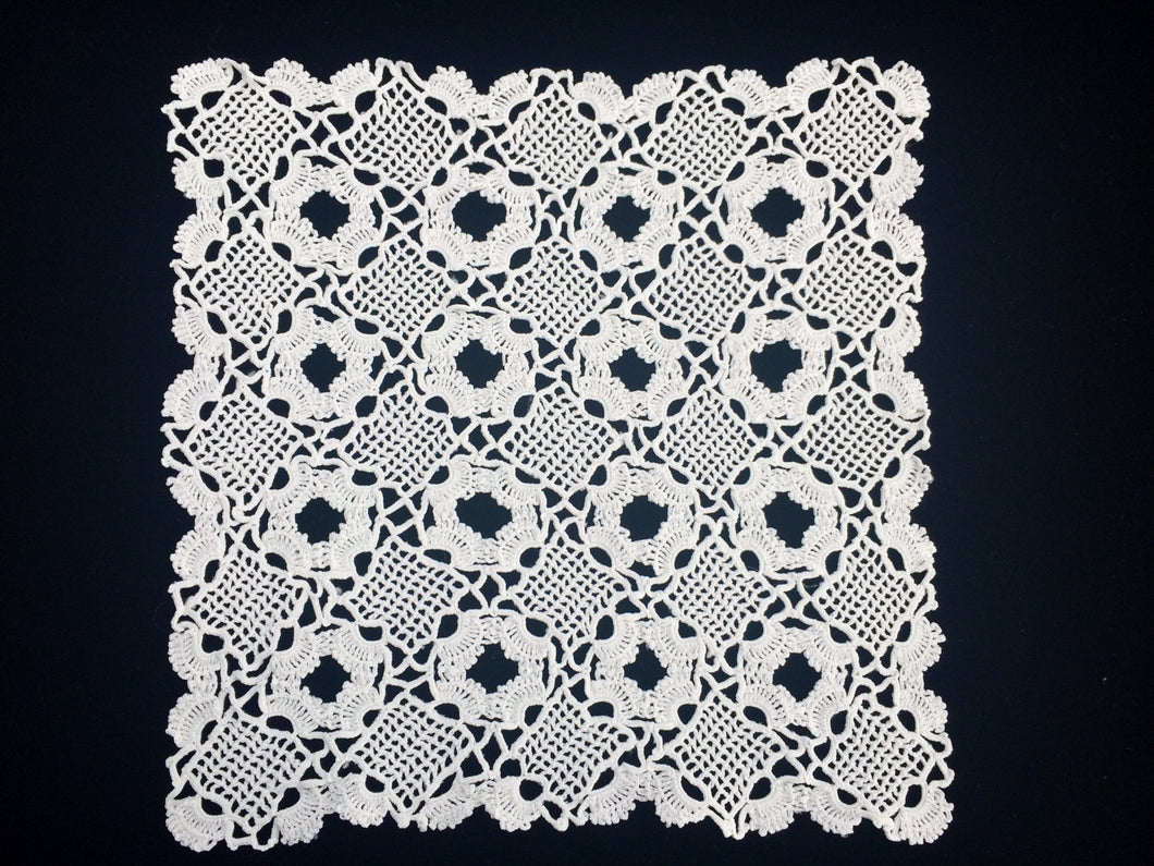 Large White Vintage Venetian Crochet Cotton Lace Doily
