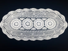 Load image into Gallery viewer, Large Vintage Chunky Cotton Crocheted Oval Antique Linen White Doily