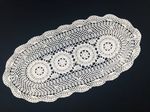 Large Vintage Chunky Cotton Crocheted Oval Antique Linen White Doily