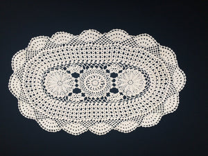 Large Vintage Crocheted Oval Ivory/Beige Colour Crocheted Lace Doily