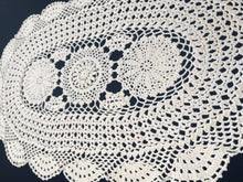 Load image into Gallery viewer, Large Vintage Crocheted Oval Ivory/Beige Colour Crocheted Lace Doily