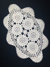 Load image into Gallery viewer, Vintage Antique Linen White Colour Oval Crocheted Cotton Lace Doily