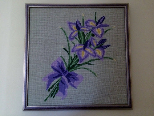 Framed Vintage Tapestry Iris Bouquet Framed Gobelin Needlepoint Picture Purple Flowers on Beige Background in Purple Frame