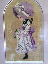 Load image into Gallery viewer, Framed Vintage Tapestry Sunbonnet Sue Gobelin Picture. Needlepoint Picture in Gilded Whitewashed Wooden Frame
