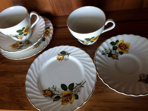 Tea for Two 2 x 3 Piece Demitasse Sets Made in England Old Foley James Kent  Ltd Yellow Roses Fluted Design with Gold Band  VCH0065
