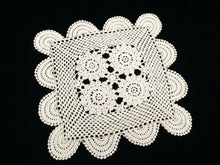 Load image into Gallery viewer, Vintage Square Crocheted White Cotton Lace Doily