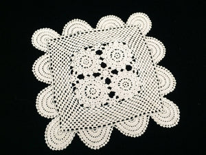 Vintage Square Crocheted White Cotton Lace Doily