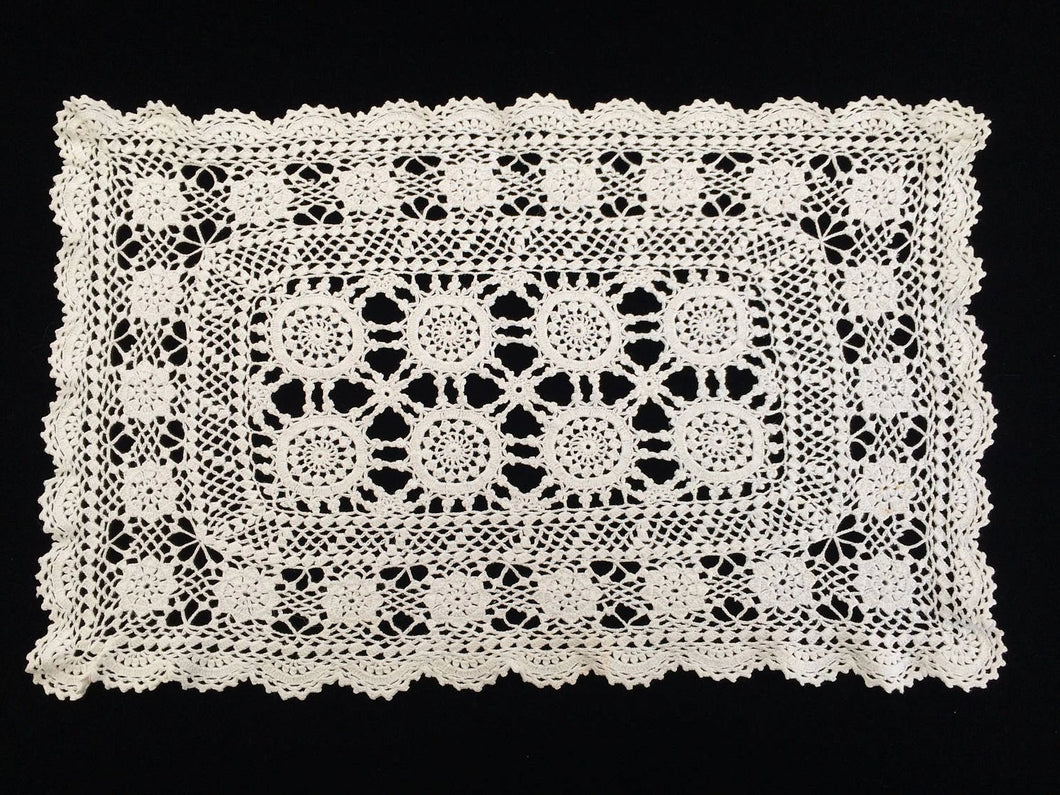 Vintage Crocheted Ivory/Beige Cotton Lace Doily or Placemat