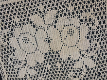 Load image into Gallery viewer, Antique Doily Roses Filet Crochet Lace Doily. Square Ivory/Ecru (natural cotton) Colour Shabby Looking Lace Doily