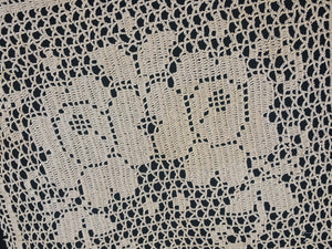 Antique Doily Roses Filet Crochet Lace Doily. Square Ivory/Ecru (natural cotton) Colour Shabby Looking Lace Doily