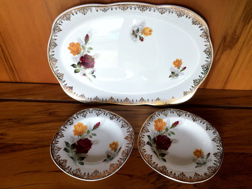 Alfred Meakin Glow White Ironstone Oval Serving Platter with Six Bowls