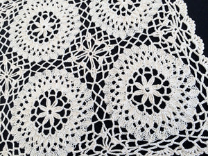 Vintage Ivory Oblong Knitted and Crocheted Cotton Lace Doily