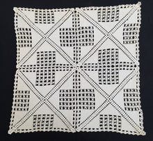 Load image into Gallery viewer, Large Off White Square Vintage Filet Crochet Lace Doily or Small Tablecloth