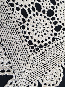 Vintage Ivory Colour Crochet Lace Table Runner