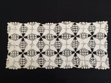 Load image into Gallery viewer, 1960s Pattern Antique Linen White Crochet Lace Table Runner