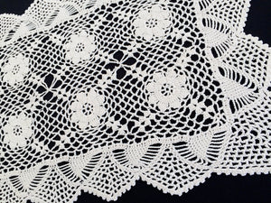 Small Vintage Ivory Coloured Crochet Lace Table Runner