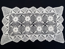 Load image into Gallery viewer, Small Vintage Ivory Coloured Crochet Lace Table Runner