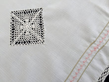 Load image into Gallery viewer, Vintage Embroidered Cross Stitch Pink Roses Design White Viscose Linen Table Runner with White Crocheted Cotton Lace Border/Inlays