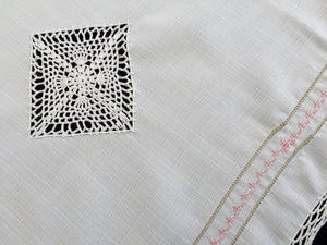 Vintage Embroidered Cross Stitch Pink Roses Design White Viscose Linen Table Runner with White Crocheted Cotton Lace Border/Inlays