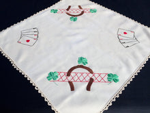 Load image into Gallery viewer, Embroidered Vintage Square Card Tablecloth with Crochet Lace Border