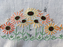 Load image into Gallery viewer, Vintage Square Floral Embroidered White Linen Tablecloth