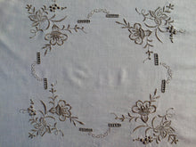 Load image into Gallery viewer, Ajour (Openwork) Embroidered Vintage Ivory/Ecru Cotton Linen Tablecloth