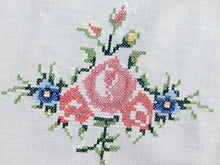 Load image into Gallery viewer, Vintage Embroidered White Cotton Linen Cross Stitch Tablecloth with Roses