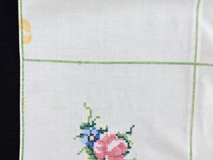 Vintage Embroidered White Cotton Linen Cross Stitch Tablecloth with Roses